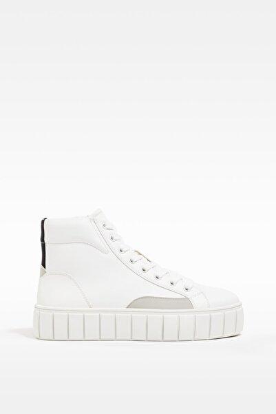 Bershka Kadın Beyaz Platformlu Yüksek Bilekli Spor Ayakkabı