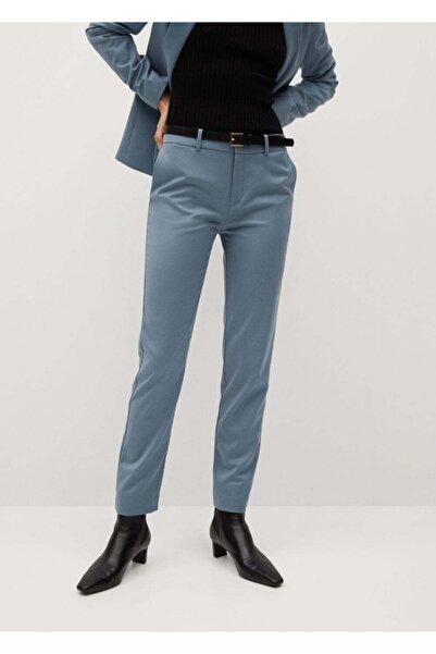 MANGO Woman Kadın Gök Mavisi Kemerli Kumaş Pantolon 77030108