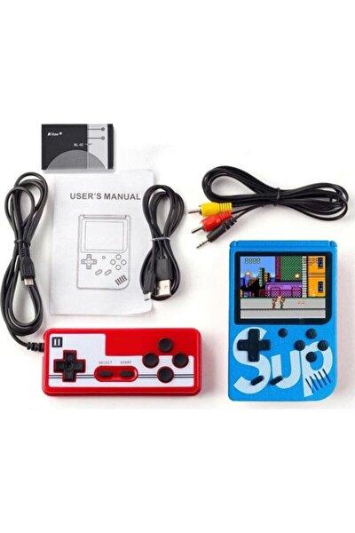 "Retro Sup Taşınabilir Video Oyun Konsolu 3"" 400 Oyunlu Mini Atari Gameboy 2 Oyunculu Mavi"