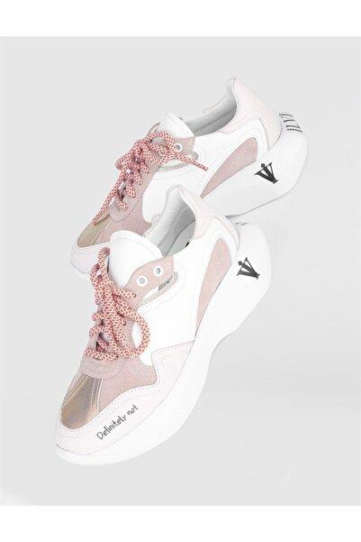 İLVİ Kadın Pudra Villy Hakiki Deri Spor Ayakkabı