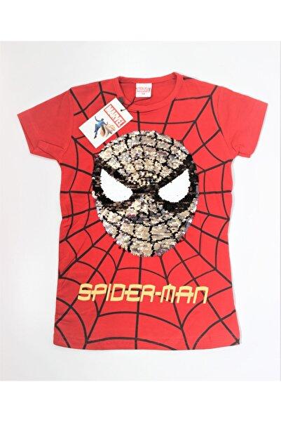 MARVEL Erkek Çocuk Kırmızı Spider Man Pullu T-shirt
