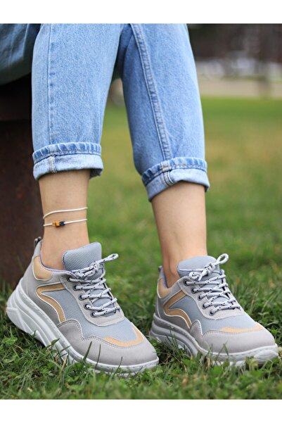 aura en rose Casual Kalın Tabanlı Gri Spor Ayakkabı Sneaker