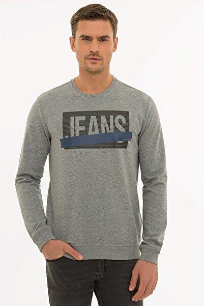 Pierre Cardin Erkek Gri Melanj Standart Fit Sweatshirt G021SZ082.000.1235973