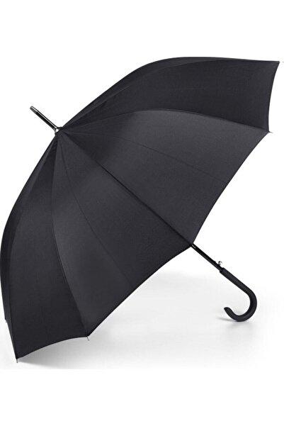 Marlux Baston Şemsiye 10 Fiber Telli Siyah Otomatik 102 Cm Çap