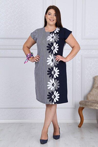 Mooi XXL Kadın Lacivert Çizgili Çiçek Desen Büyük Beden Elbise