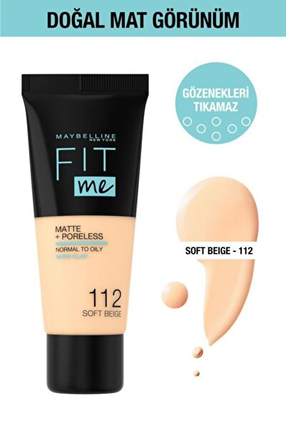 Maybelline New York Fit Me Matte+Poreless Fondöten - 112 Soft Beige