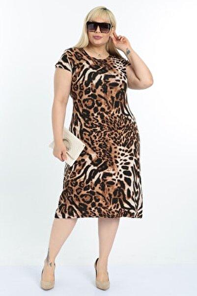 Kadın Leopar Desen Büyük Beden Elbise