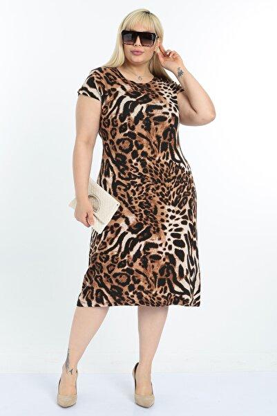 Mooi XXL Kadın Leopar Desen Büyük Beden Elbise