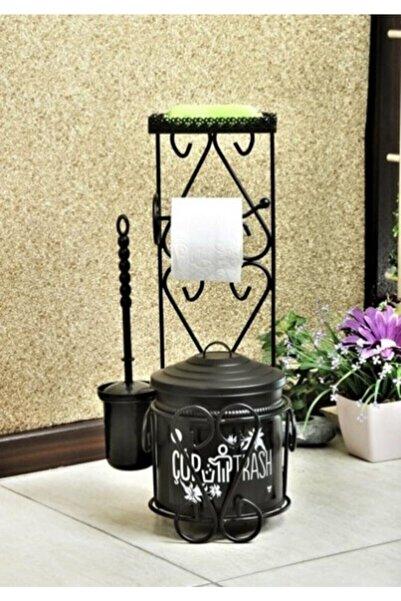 FBZhome Ferforje Wc Seti Standlı Çöp Kovası Tuvalet Kağıtlığı Ve Fırçası Siyah