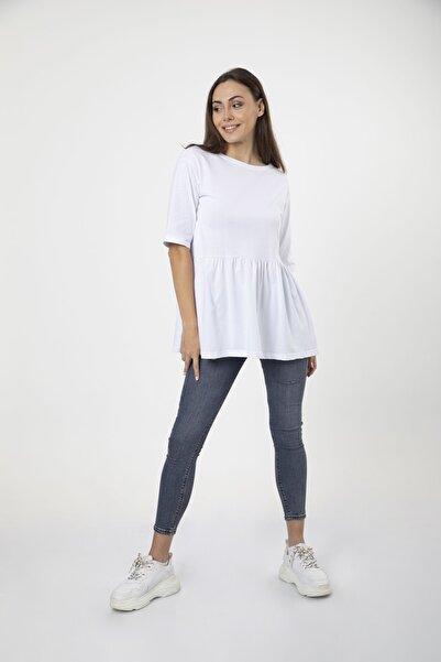 MD trend Kadın Beyaz Volanlı Geniş Kesim Basic Örme T-shirt