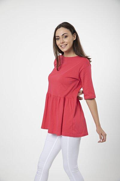 MD trend Kadın Fuşya Volanlı Geniş Kesim Basic Örme T-shirt