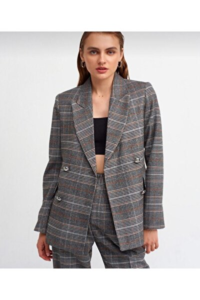 cefwomans Kadın Gri  Metal Düğme Detay Ceket