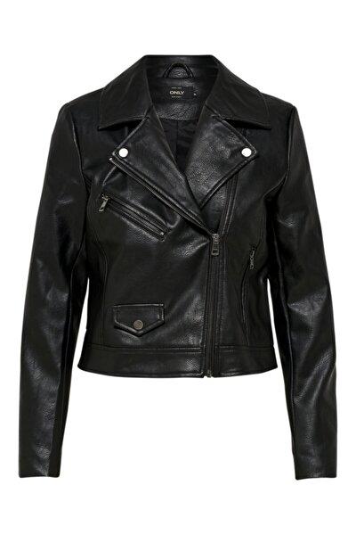 Only Kadın Siyah Motorcu Stil Suni Deri Ceket 15180324 ONLENYA