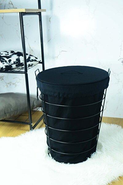 SepetçiBaba Linen Siyah Metal Çamaşır Sepeti