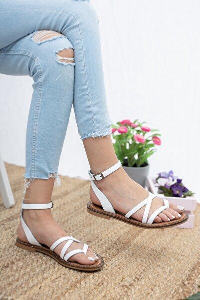 Deripabuc Hakiki Deri Beyaz Kadın Deri Sandalet Dp28-0813
