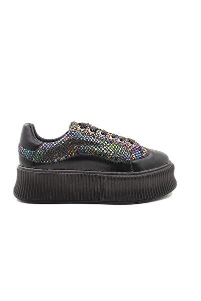 Hammer Jack Kadın Siyah Yüksek Tabanlı Spor Ayakkabı 407 110