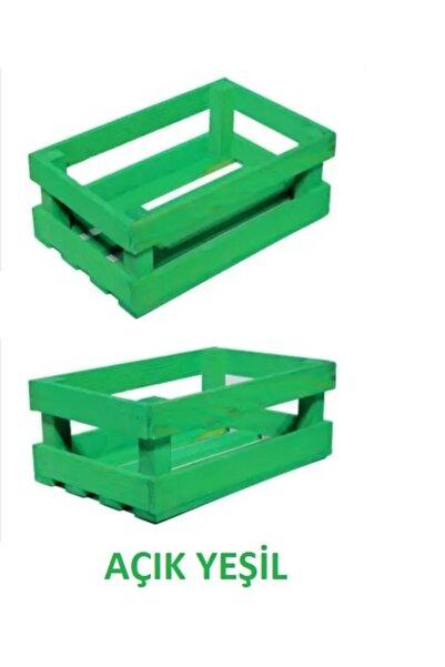 AHŞAP ATÖLYE Ahşap Kasa Raf Çiçeklik Renkli Mini Kasa Yeşil