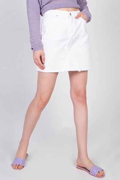 Addax Kadın Beyaz Mini Kot Etek E3005 - Pnc ADX-0000022250