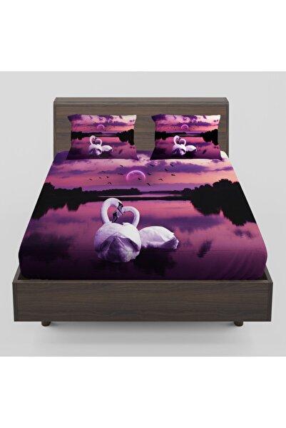 Osso Halı Mor Manzara Beyaz Kuğular Desenli Lastikli Çift Kişilik Lastikli Çarşaf Takımı 160x200cm