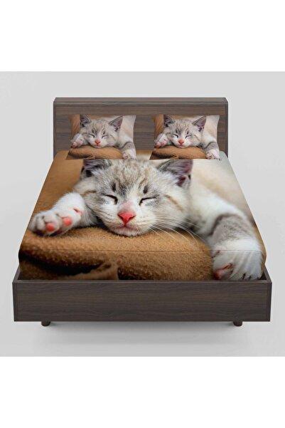 Osso Halı Sevimli Uyuyan Kedi Desenli Lastikli Çift Kişilik Lastikli Çarşaf Takımı 160x200cm