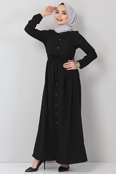 Tesettür Dünyası Siyah Tesettür Elbise Tsd55396