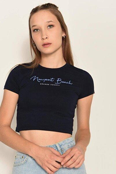 Addax Yazı Detaylı Kısa T-shirt P0991 - K9k10
