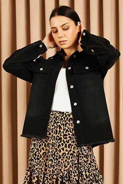 Hadise Kadın Siyah Eteği Püsküllü Kot Ceket