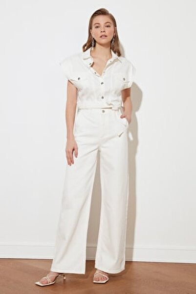 Beyaz Yüksek Bel Wide Leg Jeans TWOSS21JE0567