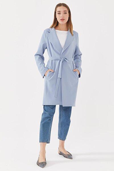Sitare Kadın Mavi Önü Kuşaklı Ceket 21y489