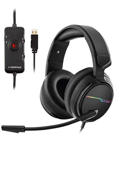 Rampage RGW9 COMFORT Siyah USB 7.1 Surround Sound RGB Oyuncu Mikrofonlu Kulaklık