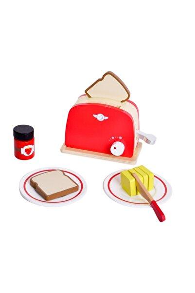 Classic World Kırmızı Ahşap Retro Tost Makinesi Ve Tost Seti