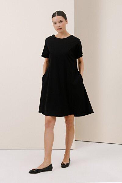 Gusto Organik Penye Elbise - Siyah