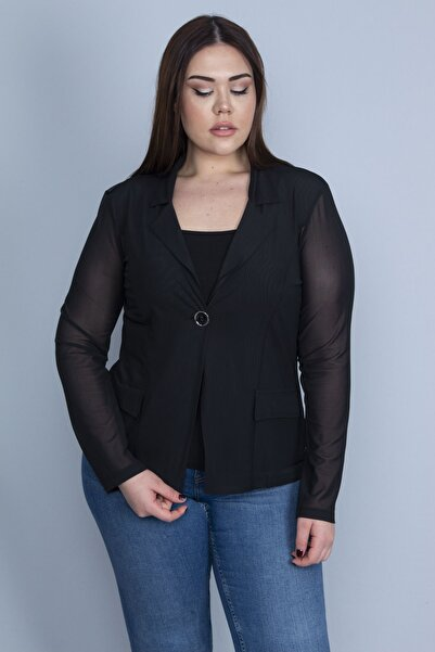 Şans Kadın Siyah Tül Kumaş Tek Düğmeli Ceket 65N23120