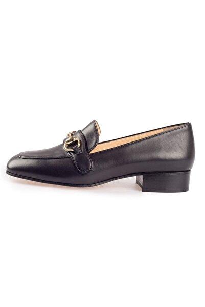 Flower Siyah Deri Tokalı Günlük Kadın Ayakkabı