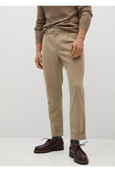 MANGO Man Erkek Bej Pilili Jogging Pantolon