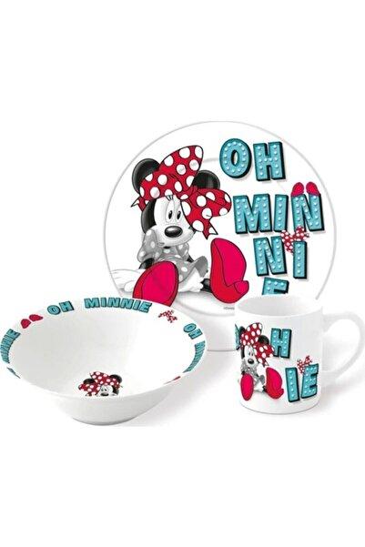 DISNEY Minnie Mouse 3lü Porselen Tabak Bardak Kase Çoçuk Mama Seti