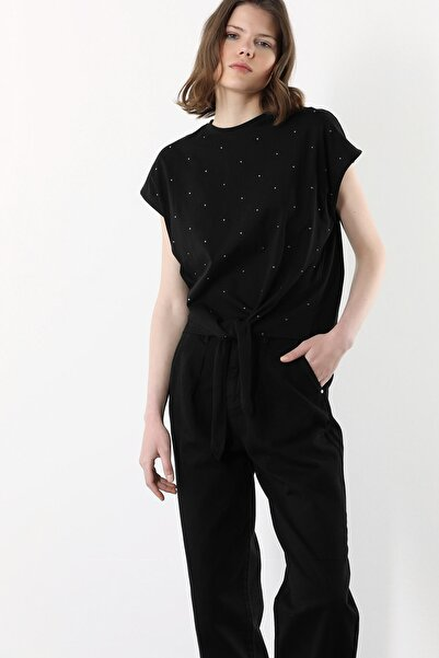 Network Kadın Siyah Silver Taş İşlemeli T-shirt 1078496