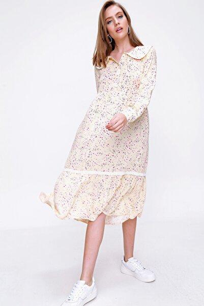 Bigdart Kadın Bebe Yaka Dantel Detay Elbise 2181