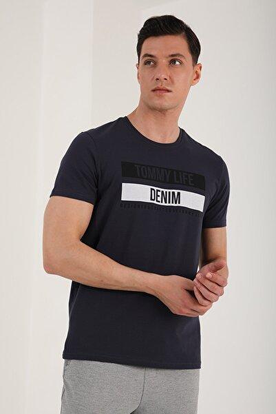 Tommy Life Erkek Baskılı Kısa Kol Dar Kesim O Yaka T-shirt - 87292