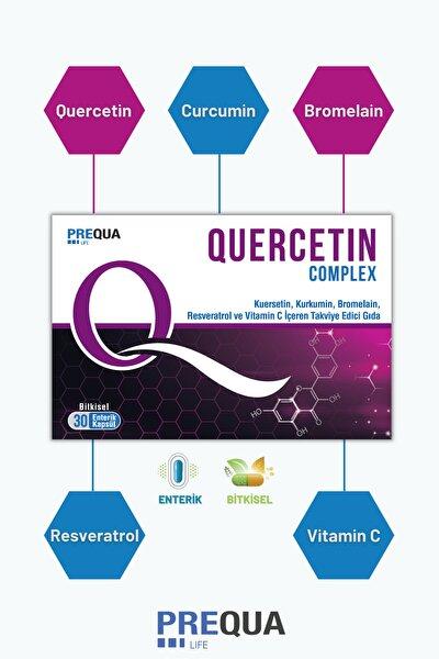 PREQUALIFE Quercetin Complex 30 Bitkisel Enterik Kapsül-kuersetin, Kurkumin, Bromelain, Resveratrol, Vitamin C