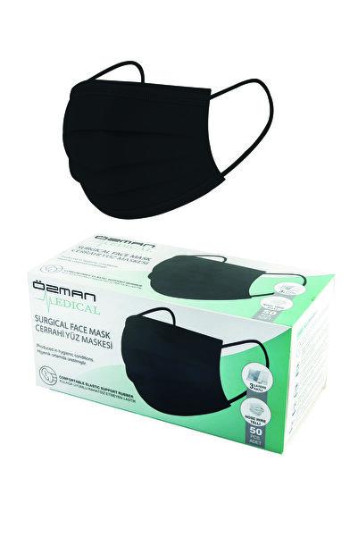 Özman Medical Üç Katlı Telli Meltblownlu Siyah Cerrahi Maske 50 Adet