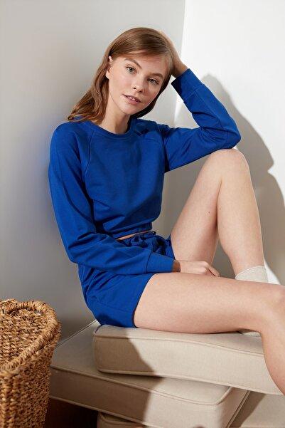 TRENDYOLMİLLA Saks Bağlama Detaylı Örme Pijama Takımı THMSS21PT0207