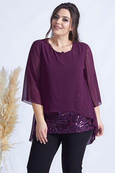 Moda Berray Kadın Mürdüm Şifon Dantel Kombinli Büyük Beden Bluz 4046