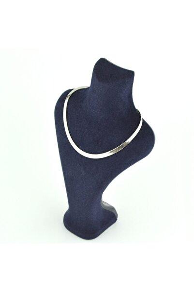 ilkdem butik bijuteri Çelik Kararmaz Italyan Yassı Ezme Zincir (kısa Konbin Zinciri) Gümüş Renk