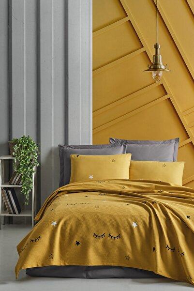 Enlora Home Enlora %100 Doğal Pamuk Pike Takımı Çift Kişilik Dide Sarı