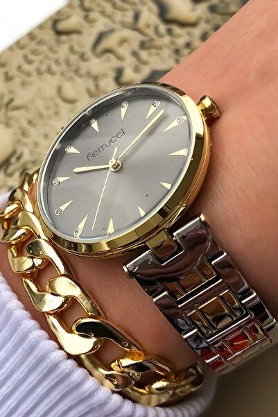 Ferrucci Kadın Altın Kol Saati + Bileklik