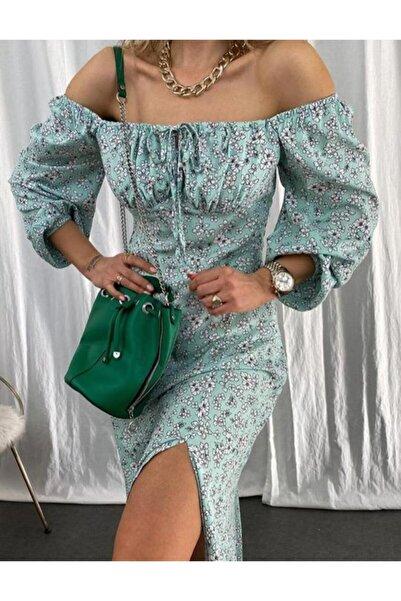 NİCE Su Yeşili Çiçek Desenli Yırtmaç Detaylı Elbise