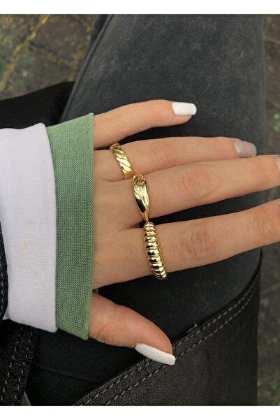 X-Lady Accessories Kadın 3'lü Gold Yüzük Seti