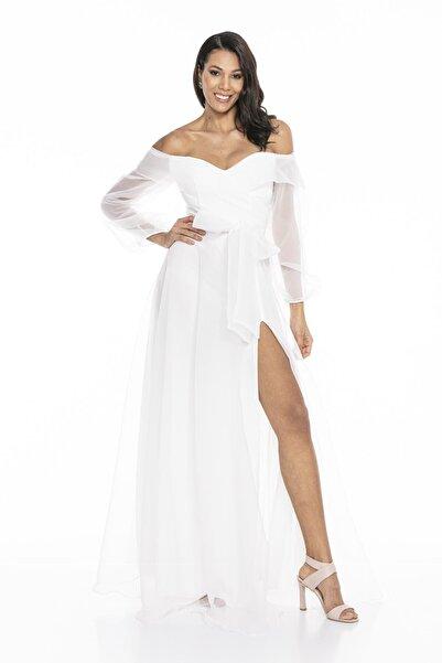 Abiye Sarayı Kadın Beyaz Kayık Yaka Yırtmaç Ve Kemer Detaylı Tül Uzun Abiye Elbise