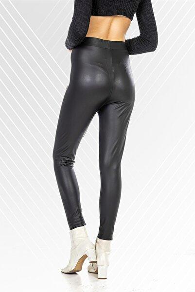 kevox Deri Görünümlü Siyah Kadın Tayt